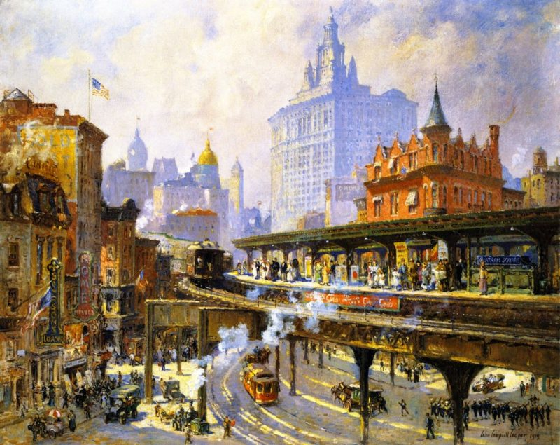 Chatham Square Station New York   Colin Campbell Cooper   oil painting