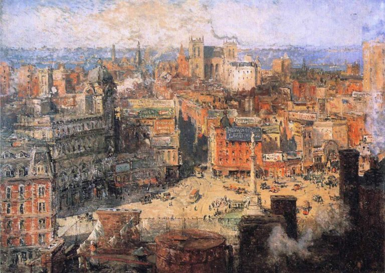 Columbus Circle | Colin Campbell Cooper | oil painting