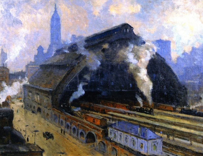 Glass Train Shed Broad Street Station Philadelphia | Colin Campbell Cooper | oil painting