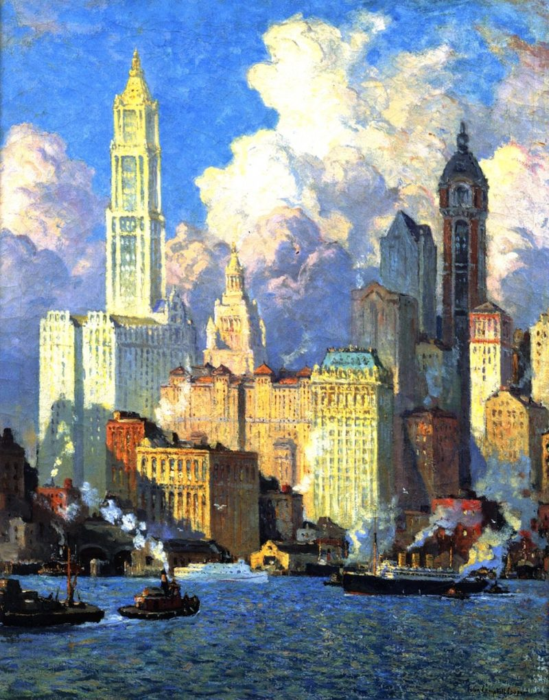 Hudson River Waterfront | Colin Campbell Cooper | oil painting