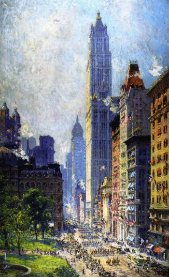 Lower Broadway in Wartime | Colin Campbell Cooper | oil painting