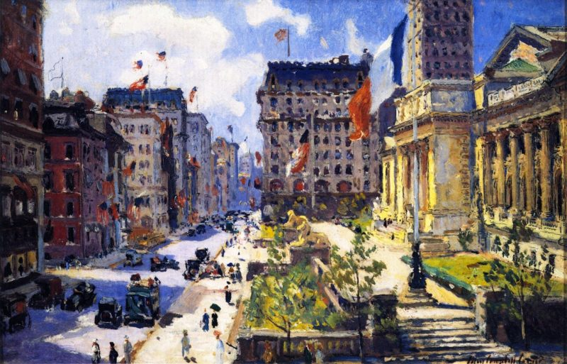 New York Public Library   Colin Campbell Cooper   oil painting