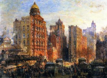 The Rush Hour New York City | Colin Campbell Cooper | oil painting