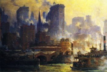 The Wall Street Ferry Slip | Colin Campbell Cooper | oil painting