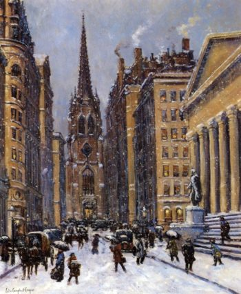 Wall Street Facing Trinity Church | Colin Campbell Cooper | oil painting