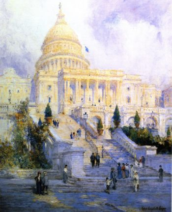 West Front Steps of the Capitol | Colin Campbell Cooper | oil painting