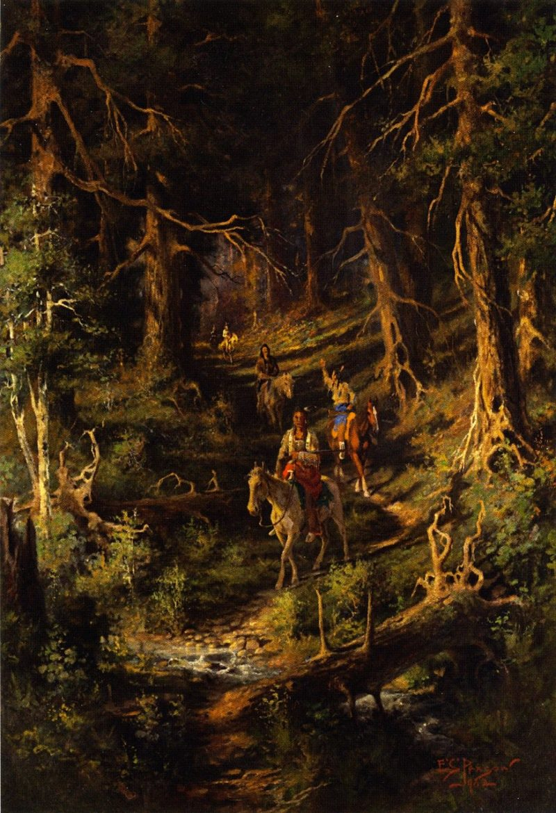 Idians in a Forest | Edgar Samuel Paxson | oil painting
