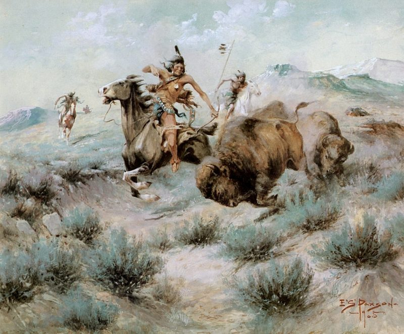 The Buffalo Hunt | Edgar Samuel Paxson | oil painting