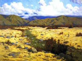 Desert River Mountains | Elmer Wachtel | oil painting