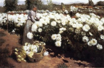 Chrysanthemum Garden in Southern California | Fannie Eliza Duvall | oil painting