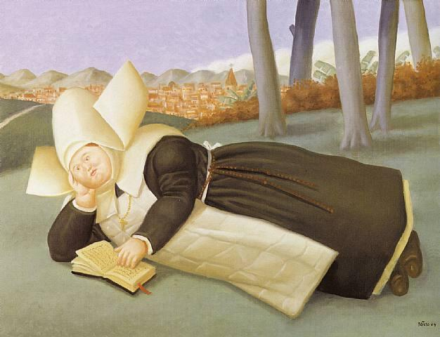 Reclining Nun   Fernando Botero   oil painting