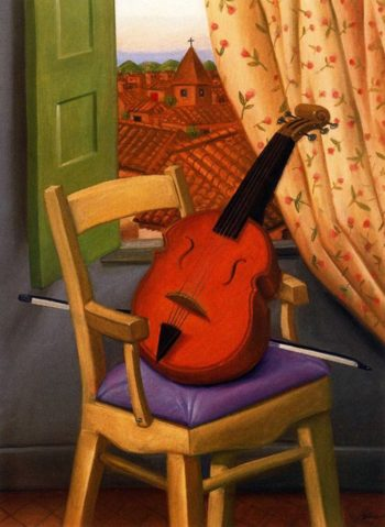 Still Life with Violin | Fernando Botero | oil painting