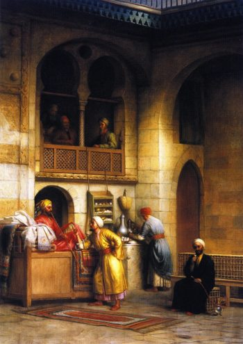 In a Rug Bazaar Cairo 2 | George Henry Hall | oil painting