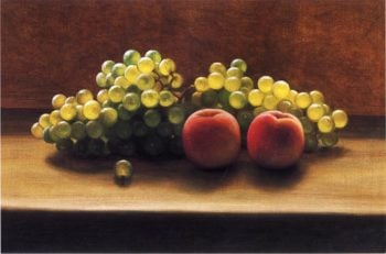 Peaches and Grapes on a Tabletop | George Henry Hall | oil painting