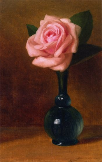 Still Life Pink Rose in a Green Vase | George Henry Hall | oil painting