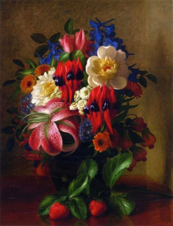 Still Life with Flowers and Strawberries | George Henry Hall | oil painting