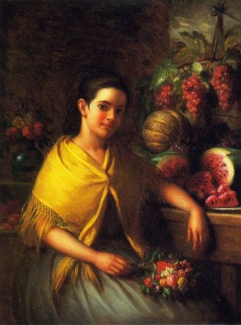 Young Girl with Fruit and Flowers | George Henry Hall | oil painting