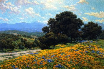 Poppy Field with Oaks and Lupines | Granville Redmond | oil painting