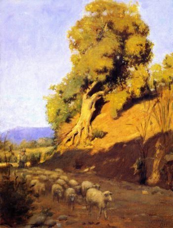 Shepherd and Flock | Granville Redmond | oil painting