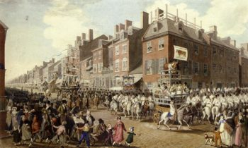 View of the Parade of the Victuallers From Fourth and Chestnut Streets | John Ludwig Krimmel | oil painting