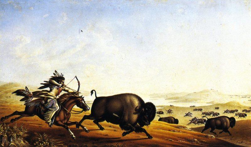Assiniboin Hunting on Horseback | Peter Rindisbacher | oil painting