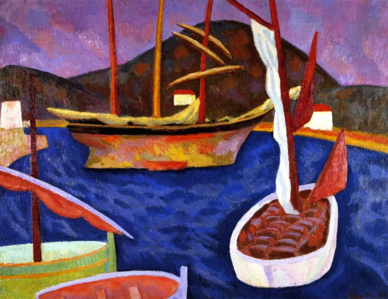 Boats in Harbour South of France | Roger Fry | oil painting