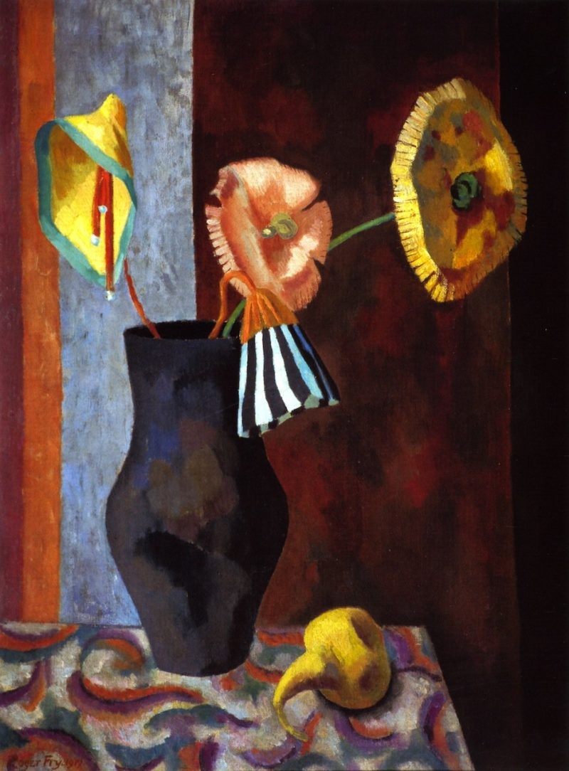 Still LIfe with Omega Flowers   Roger Fry   oil painting