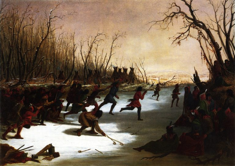 Ballplay of the Sioux on the St. Peters River in Winter | Seth Eastman | oil painting