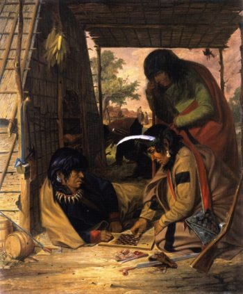 Chippewa Indians Playing Checkers | Seth Eastman | oil painting