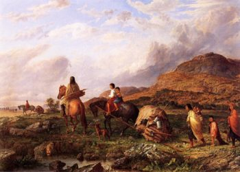 Indian Mode of Transportation   Seth Eastman   oil painting
