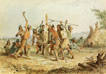 Striking the Post   Seth Eastman   oil painting
