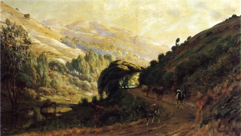 Landscape with Cows   Thaddeus Welch   oil painting
