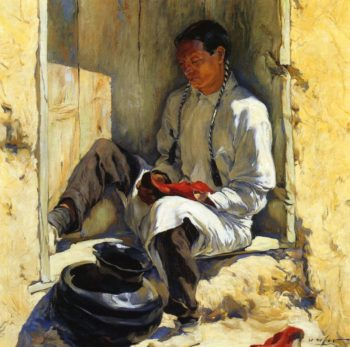 The Red Moccasins | Walter Ufer | oil painting