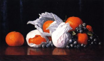 Tangerines in Tissues with Grapes | William Joseph McCloskey | oil painting