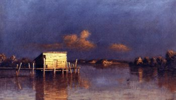 Light Falls on the Wharf   William Marple   oil painting
