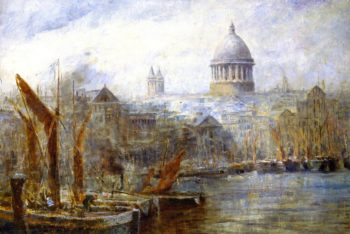 Barges Pool of London | Frederick McCubbin | oil painting