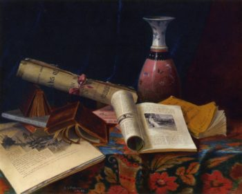 Still Life with Vase and Books   Nicholas Alden Brooks   oil painting