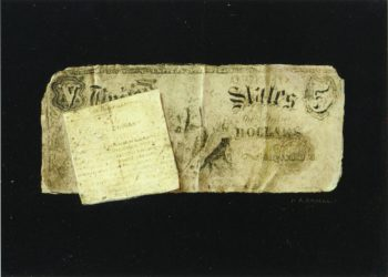 Five Dollar Bill and Clipping   Nicholas Alden Brooks   oil painting
