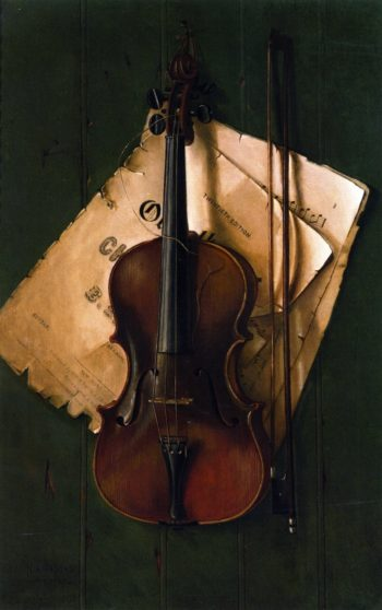 Still Life with Violin Bow and Sheet Music   Nicholas Alden Brooks   oil painting