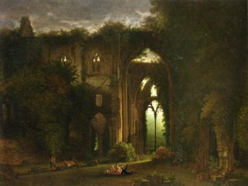 Sketching the Ruins of Tintern Abbey | Samuel Colman | oil painting