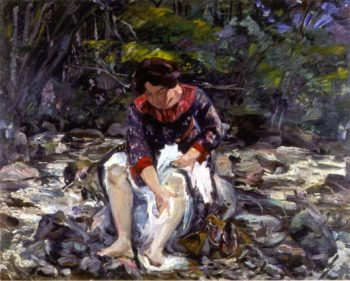 Girl in the Brook | Lovis Corinth | oil painting