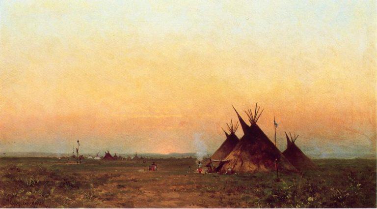 Indian Encampment   Jules Tavernier   oil painting
