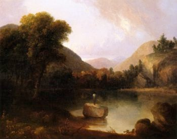 Mountain Lake with Man Fishing | Thomas Doughty | oil painting