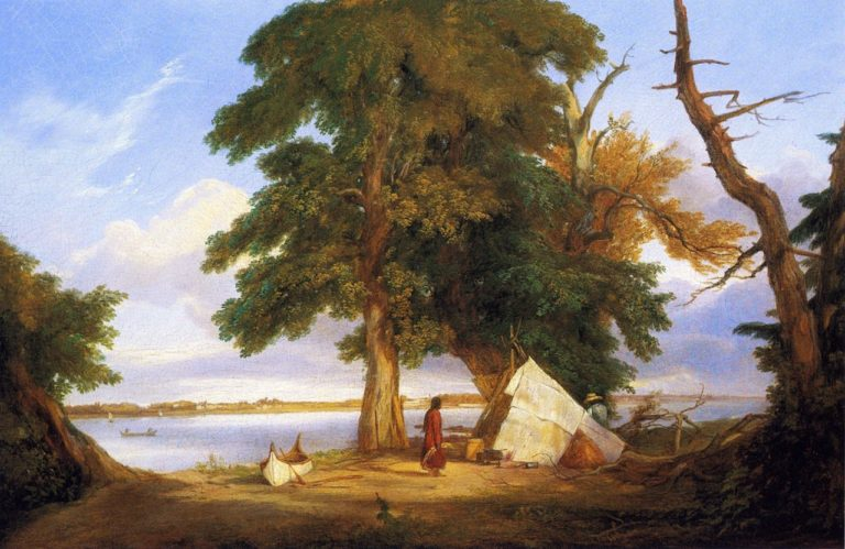 Winnebago Encampment | Seth Eastman | oil painting
