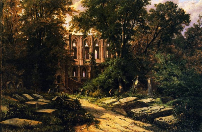 Cemetery by a Ruined Gothic Church | Herman Lungkwitz | oil painting