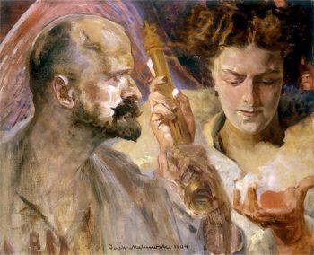 Autoportret z muza 1 | Jacek Malczewski | oil painting