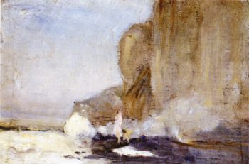 Figures on a aRocky Promontory Dieppe | Charles Conder | oil painting