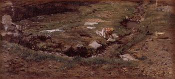 Lavandera Alrededores de Valencia | Antonio Munoz Degrain | oil painting