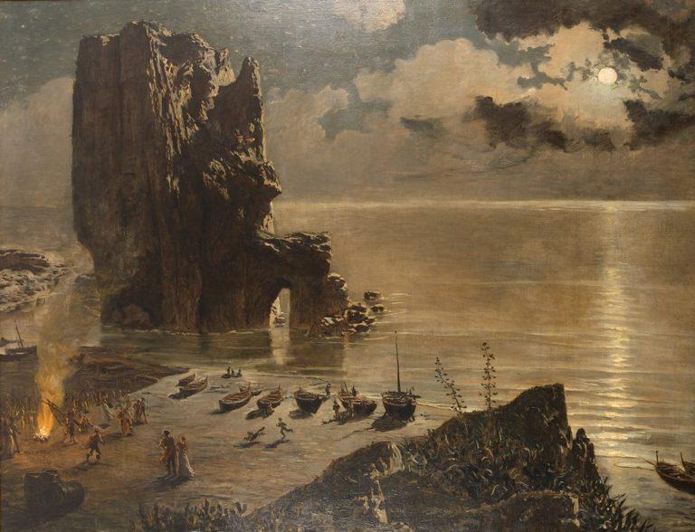 Hoguera en la Playa   Antonio Munoz Degrain   oil painting