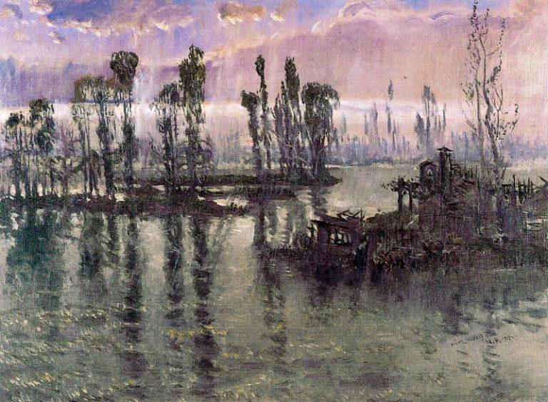 El Tajo Lluvia   Antonio Munoz Degrain   oil painting
